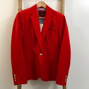 NWT J.Crew Campbell Corduroy Blazer in Flame Red